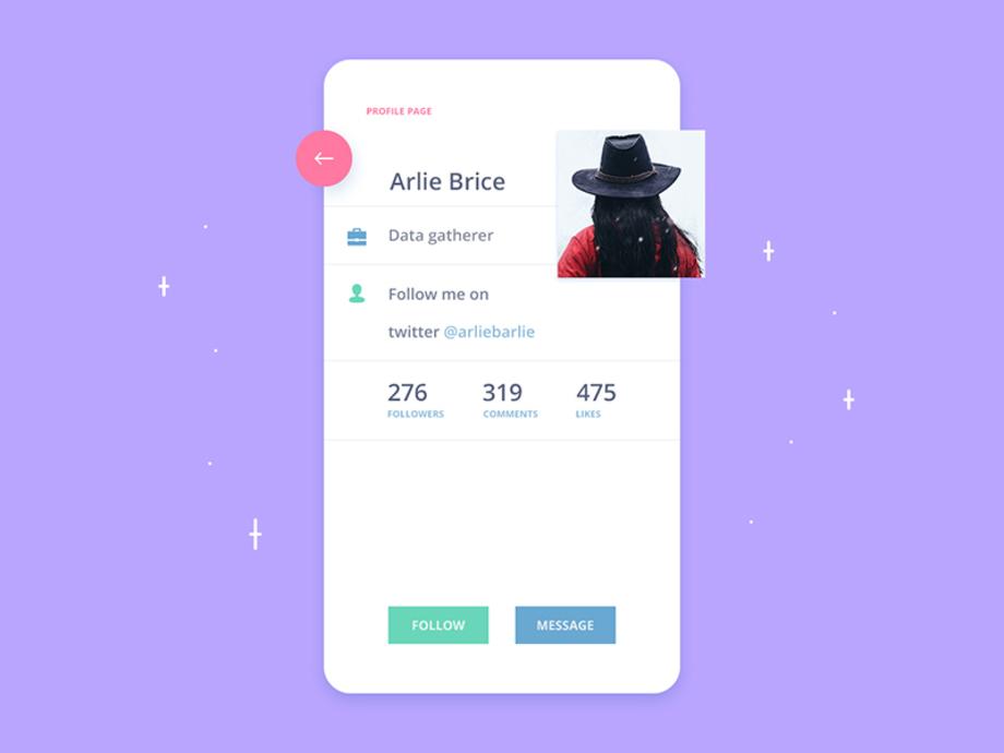 Profile page App UI
