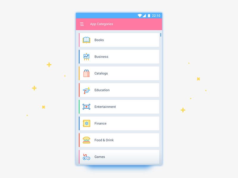 App Categories List UI